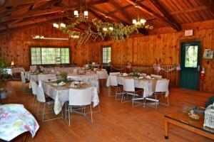 Bridal shower decorated setup at Spruce Lodge