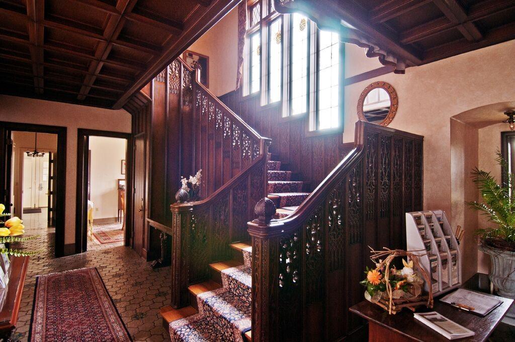 Wood carved stairway