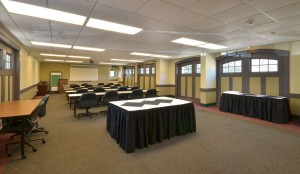 Carriage House meetign room set up in classroom style
