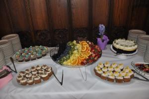 Dessert foods at buffet table