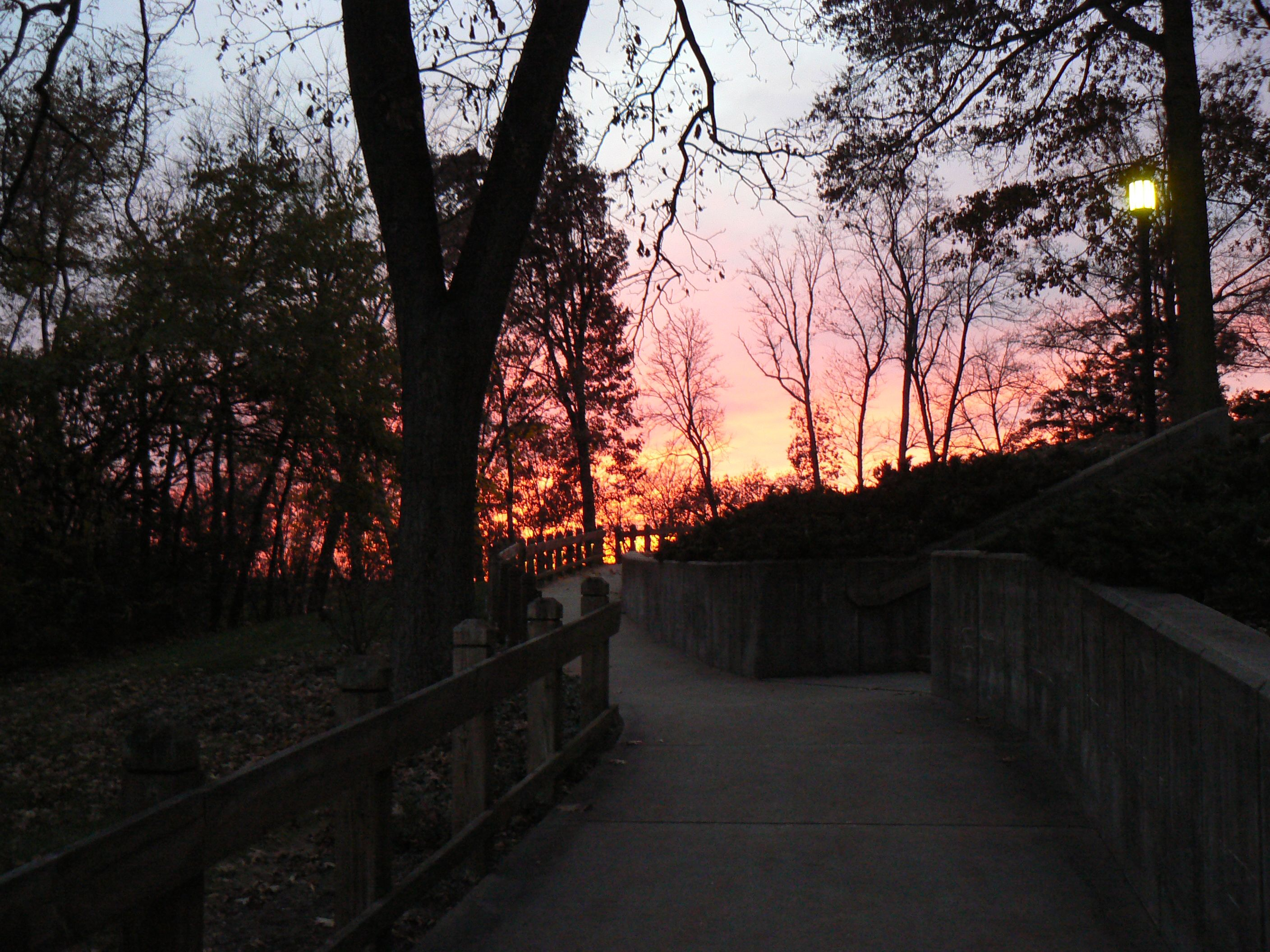 Walkway to Manor House as sun sets