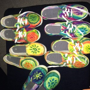 Tie Dye Shoes made by guests involved in make it take it workshop