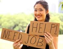 "Teenage girl holding sign that reads, ""Help, need job"""