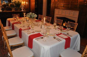 Valentine's Dinner table setting within the Manor House Dining Room