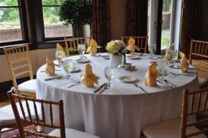 Brunch table setting in the Kellogg Manor House