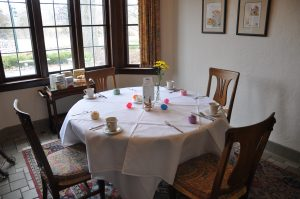 Table setting for Easter Brunch in the breakfast room of the Manor House