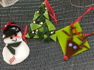 Holiday glass fused ornaments
