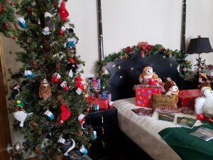 Bedroom of Manor House filled with holiday items for sale