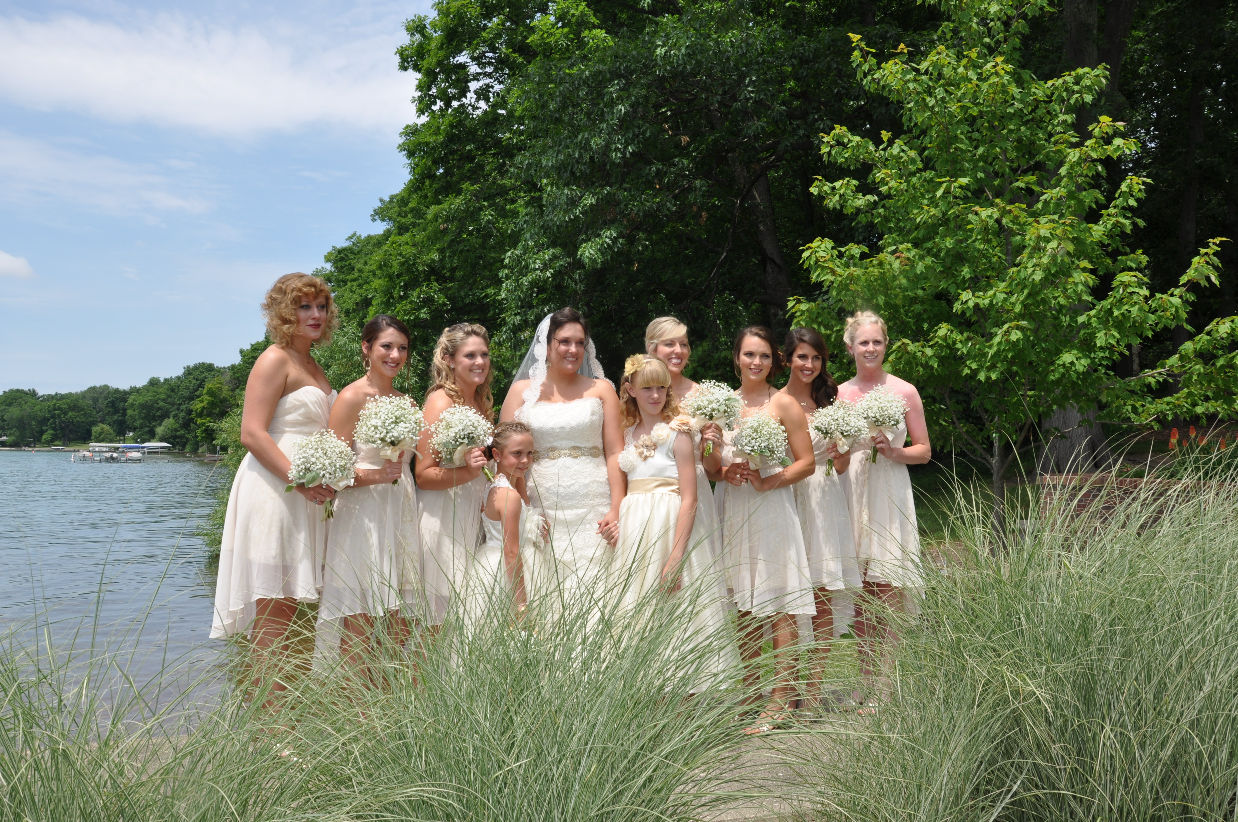 Bridal Girls with tall grass