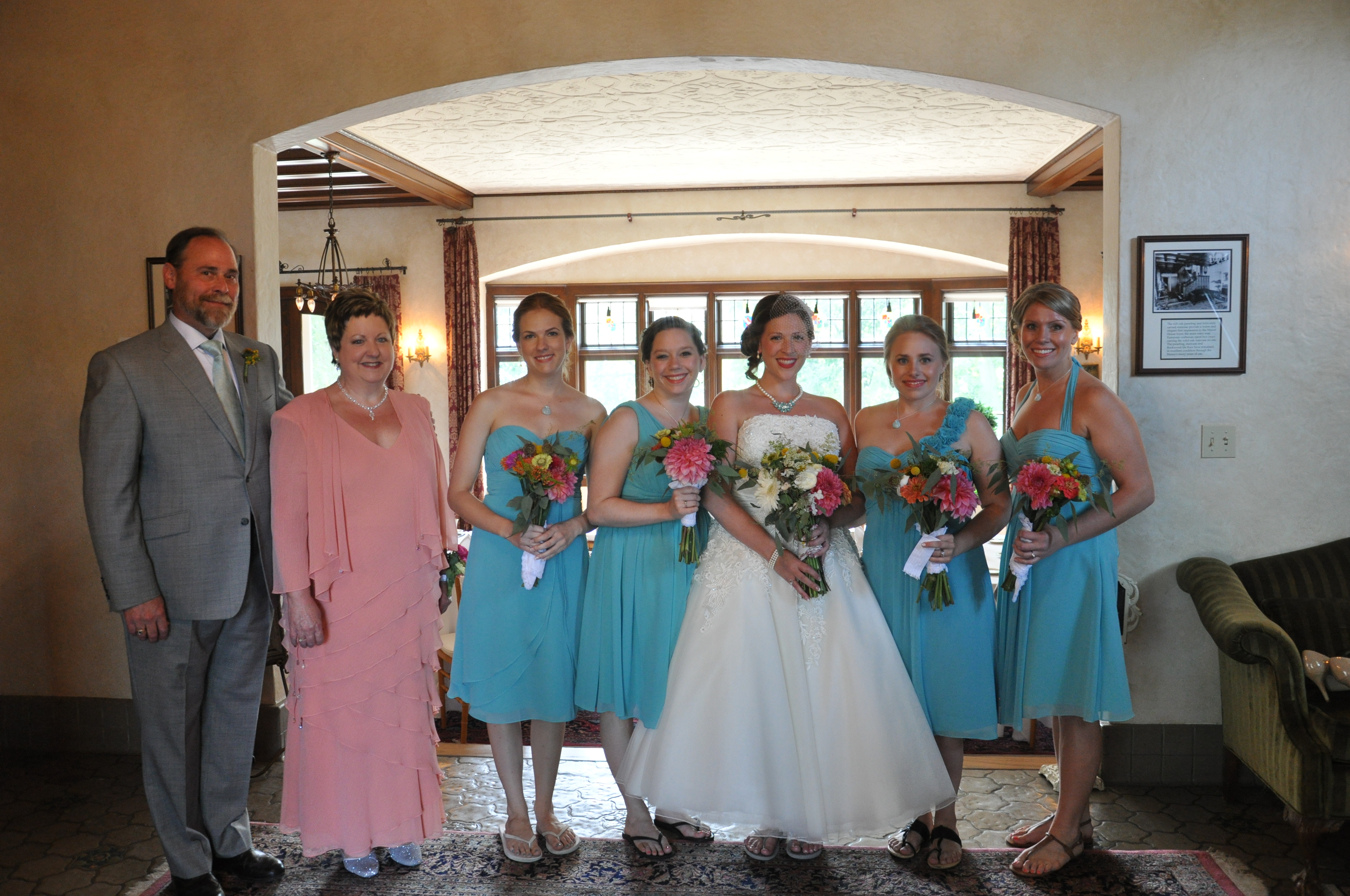 Bride and girls in foyer