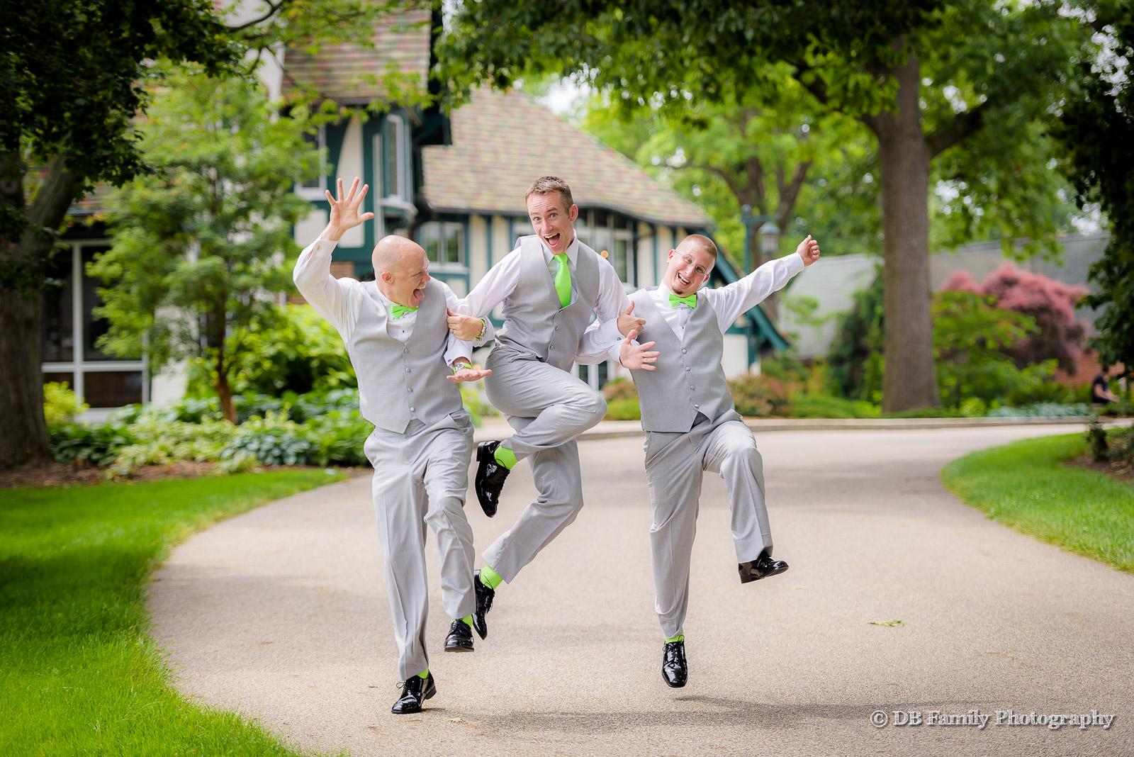 Three groomsmen in happy dance